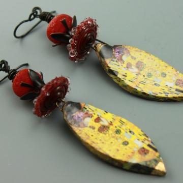 Gustav Klimt The Kiss Ceramic Glass Earrings, #801-114
