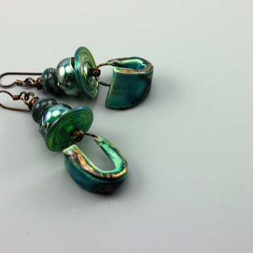 Rustic Earrings, Rustic Boho Earrings, Rustic Statement Earrings, Rustic Hippie Earrings, Rustic Primitive Earthy Earrings, Rustic Turquoise Raku Earrings #509-114I