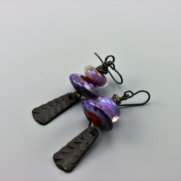 Rustic Earrings, Rustic Boho Earrings, Rustic Primitive Earthy Earrings, Rustic Purple Earrings #517-114
